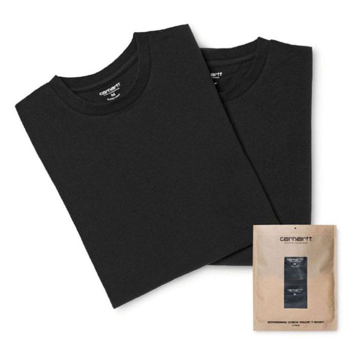 画像1: Standard Crew Neck Tee 2PC Pack 2 パック 半袖 Tシャツ スタンダード クルー ネック 無地 Black ブラック (1)