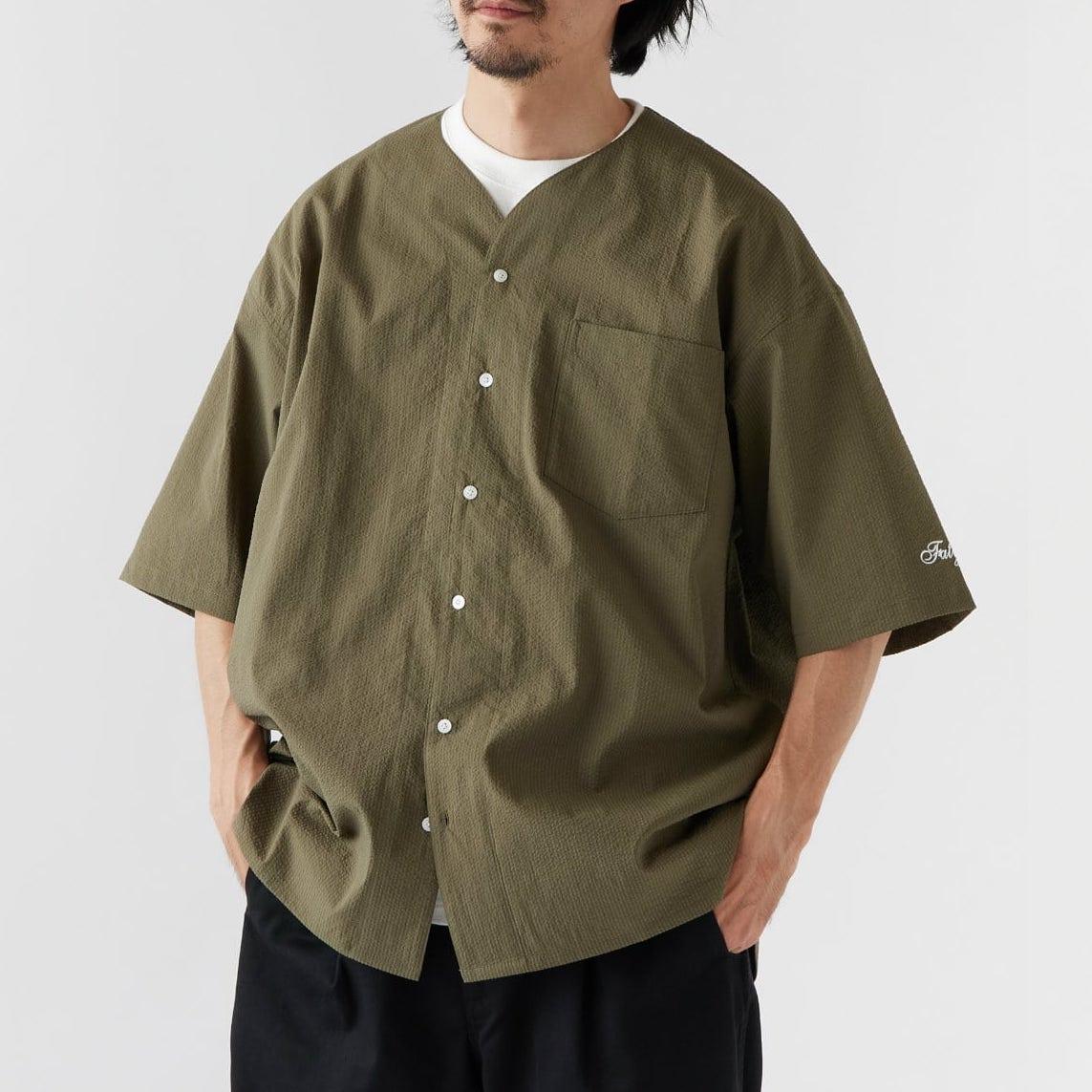画像1: Curveball seersucker baseball shirt シアサッカー ベース ボールシャツ ストレッチ BIGシルエット ベース ボールシャツ カットソー Olive Green オリーブ グリーン (1)