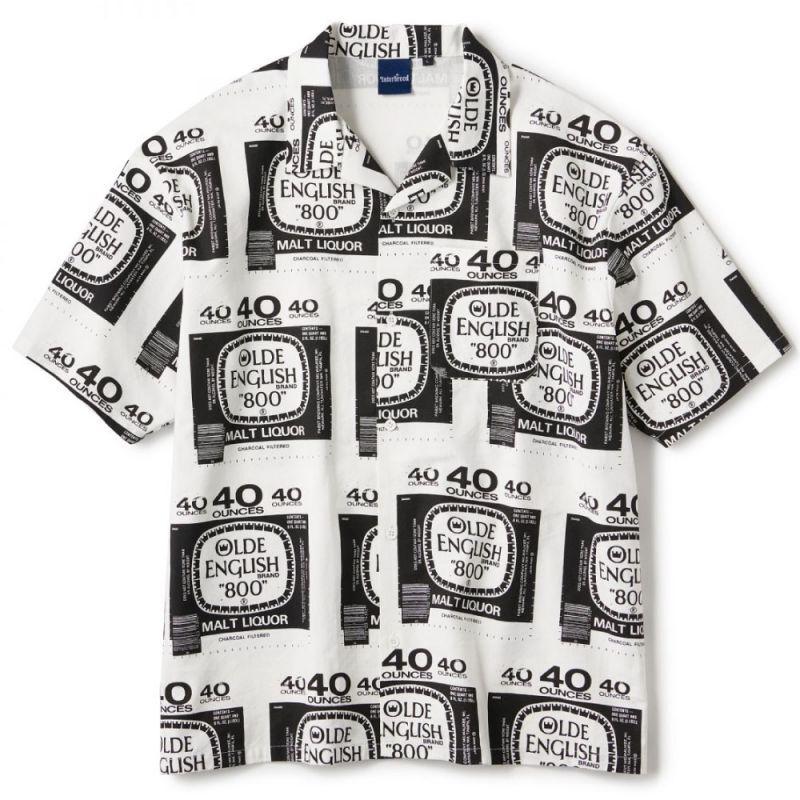 画像1: Drunkers S/S Shirt 半袖 総柄 オープンカラー シャツ White ホワイト (1)