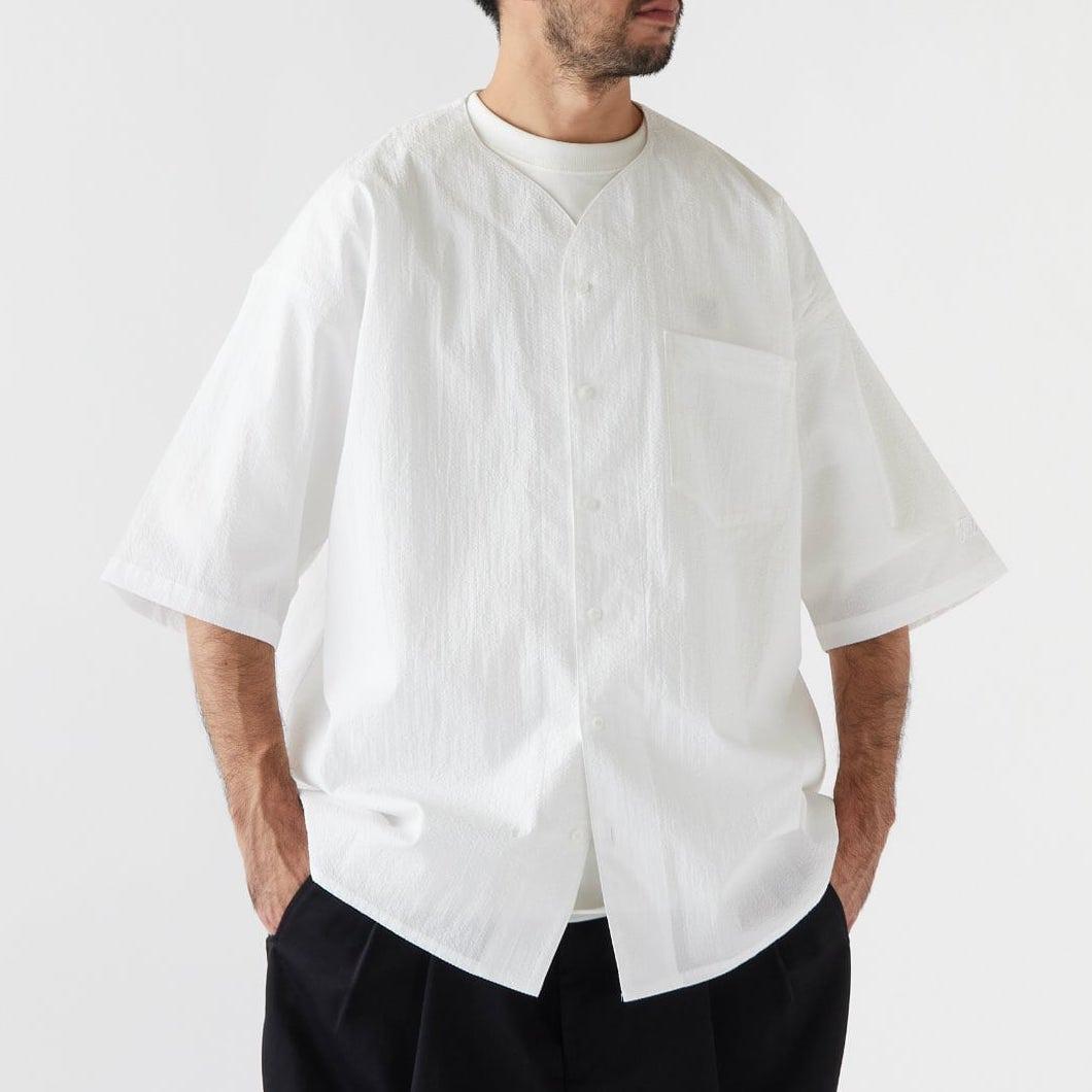 画像1: Curveball seersucker baseball shirt シアサッカー ベース ボールシャツ ストレッチ BIGシルエット ベース ボールシャツ カットソー White ホワイト (1)