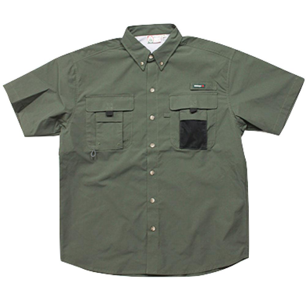 画像1: Ripstop Utility S/S Multi Pocket Shirts Fishing ユーティリティー フィッシング 半袖 シャツ Olive Green オリーブ グリーン (1)