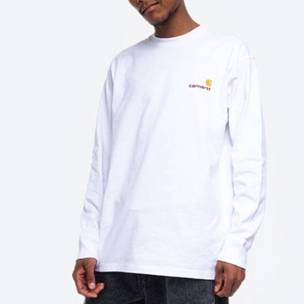 画像1: American Script L/S Tee 長袖 ロゴ Tシャツ White ホワイト (1)