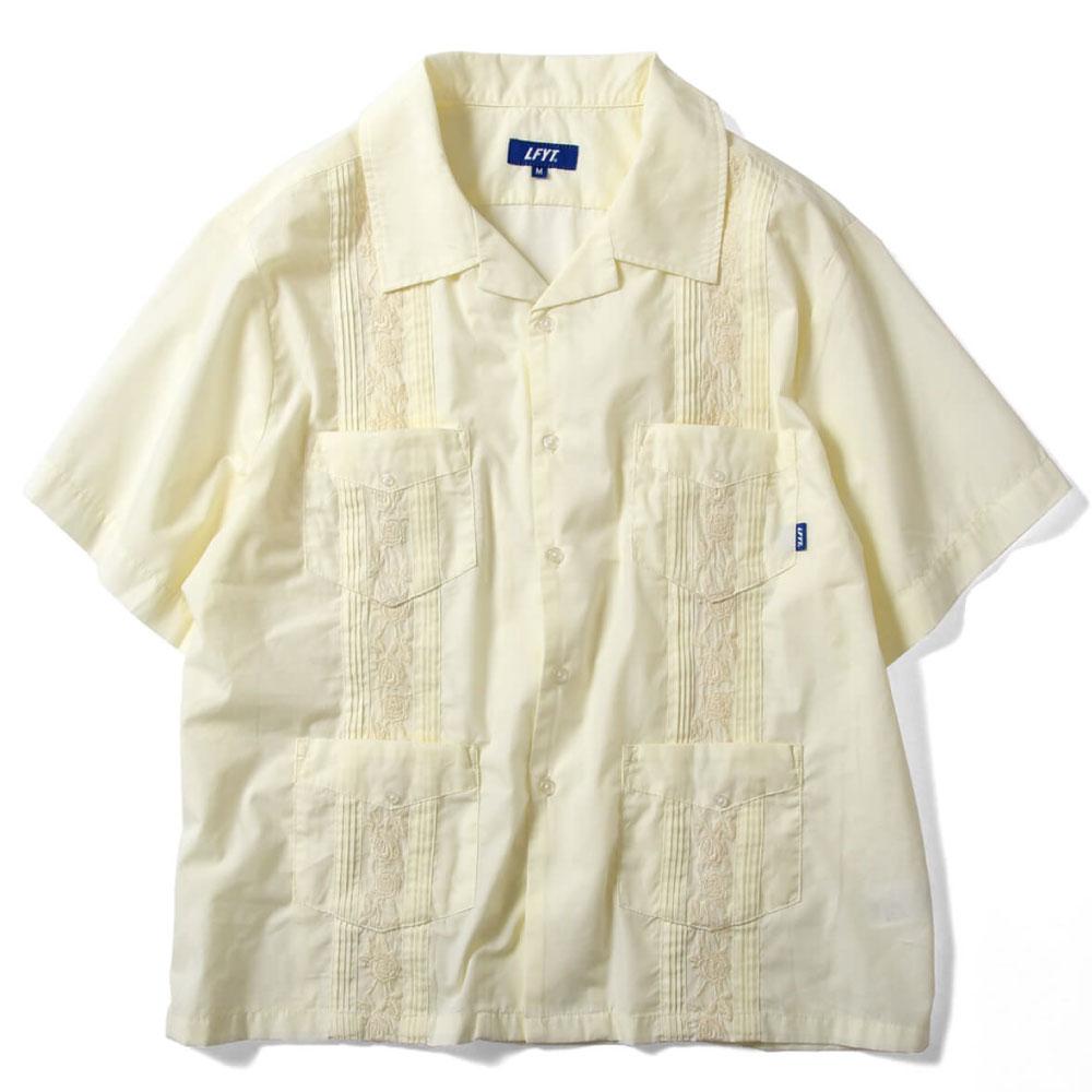 画像1: Rose Cuban S/S Shirt 半袖 キューバ シャツ embroidery 刺繍 ローズ White ホワイト (1)