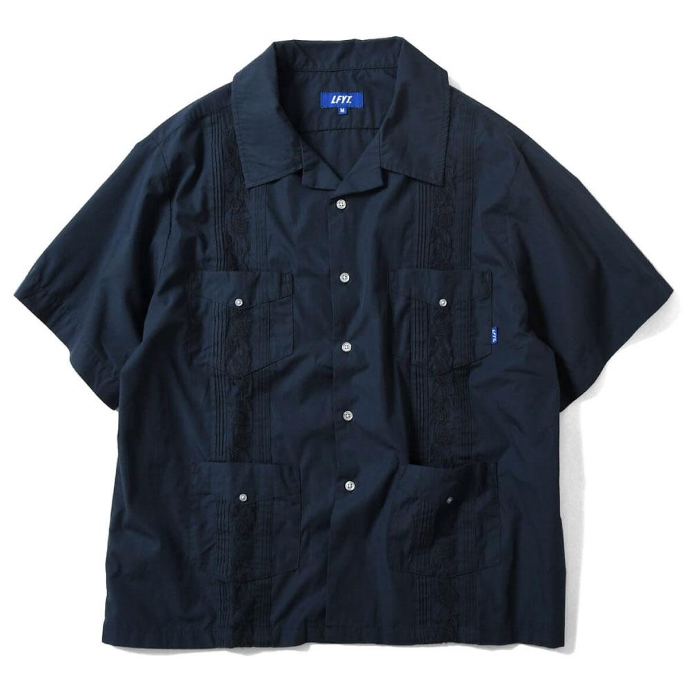 画像1: Rose Cuban S/S Shirt 半袖 キューバ シャツ embroidery 刺繍 ローズ Navy ネイビー (1)
