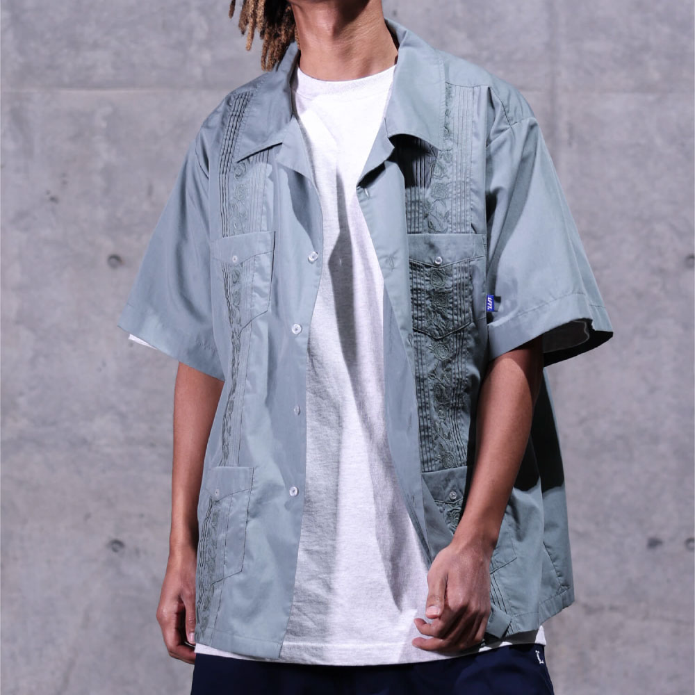 画像1: Rose Cuban S/S Shirt 半袖 キューバ シャツ embroidery 刺繍 ローズ Olive Green (1)