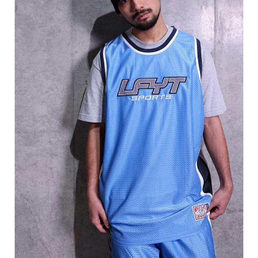 画像1: Sports Logo Basketball Jersey バスケット ボール メッシュ ジャージ ゲーム シャツ (1)