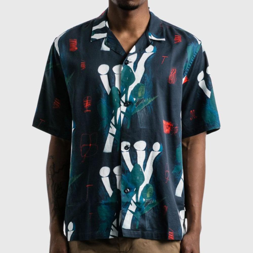 画像1: Tom KRÓL Flowers S/S Allover Open Colour Shirt 半袖 柄 シャツ (1)