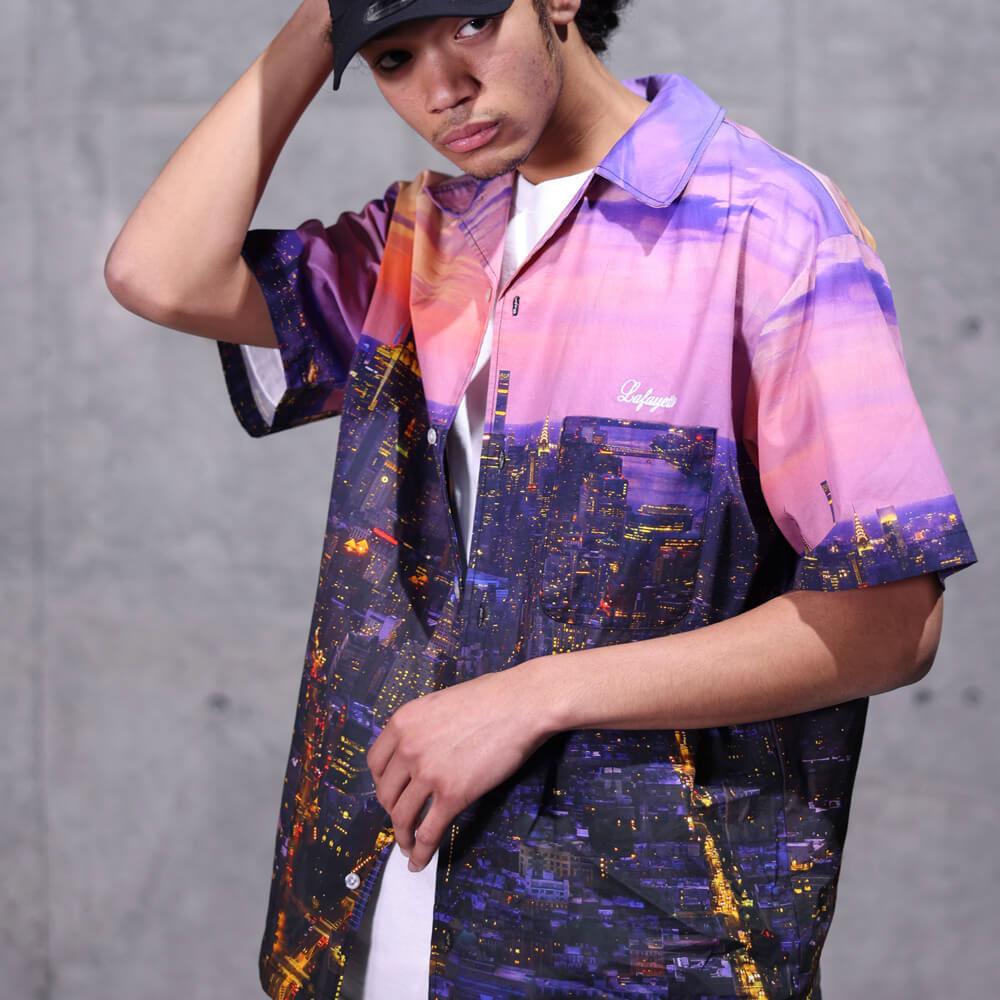 画像1: × SDJ Skyline Allover S/S Shirt エスディージェー スカイライン 開襟 半袖 シャツ 総柄 オールオーバー Purple (1)