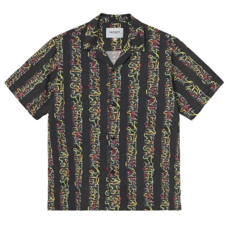 画像1: Transmission S/S Allover Open Colour Shirt オープンカラー ルーズフィット 半袖 柄 シャツ Black (1)