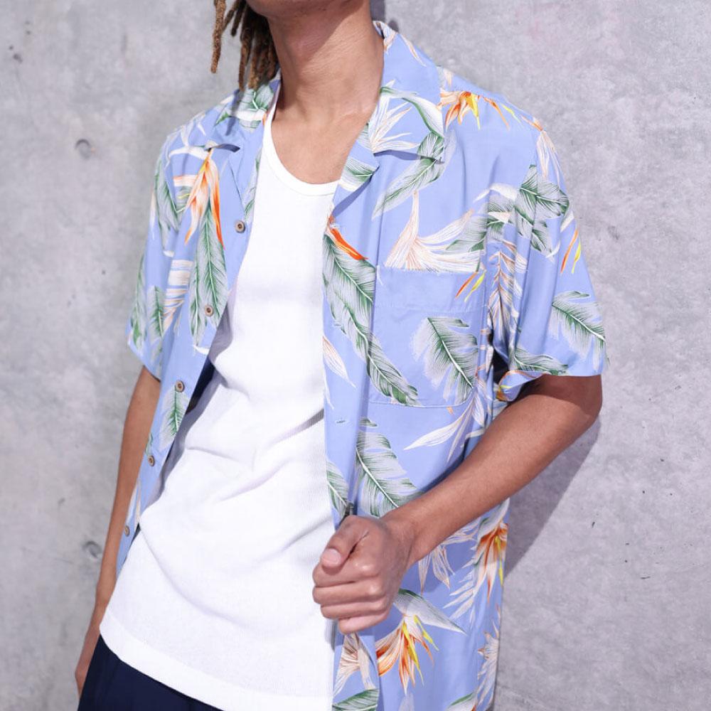 画像1: Bird Of Paradise S/S Aloha Shirt アロハ シャツ Blue (1)