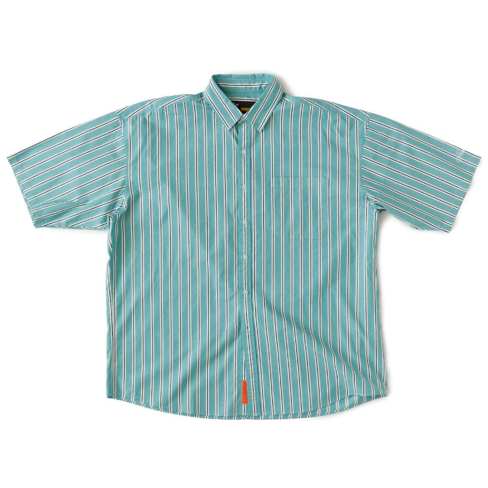 画像1: Shineline S/S Stripe Shirts ストライプ 半袖 シャツ Green (1)