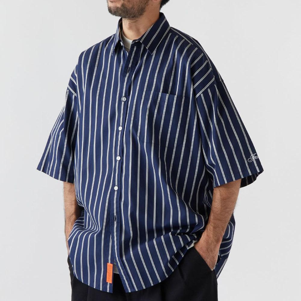 画像1: Shineline S/S Stripe Shirts ストライプ 半袖 シャツ オーバー サイズ Navy (1)
