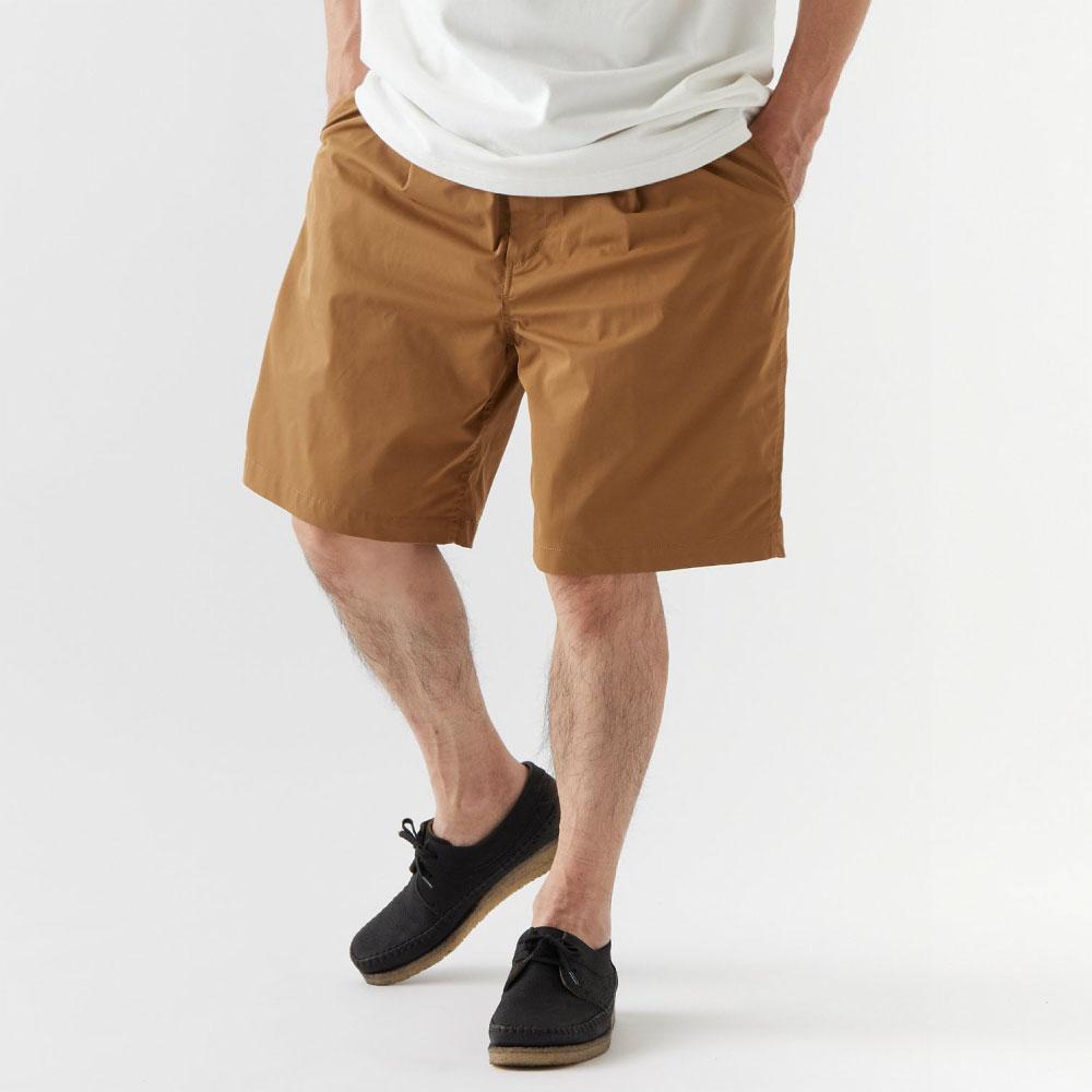 画像1: Polyhalf Wide Shorts ワイド ショーツ ベルトレス イージー SOLOTEX 2タック Camel Brown (1)