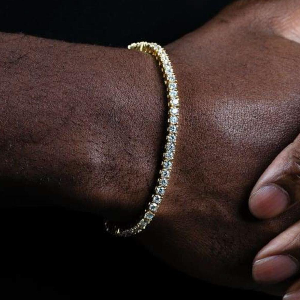 画像1: 4mm 14K Gold Single Row Tennis Bracelet ブレスレット Gold Silver ゴールド シルバー テニス チェーン (1)