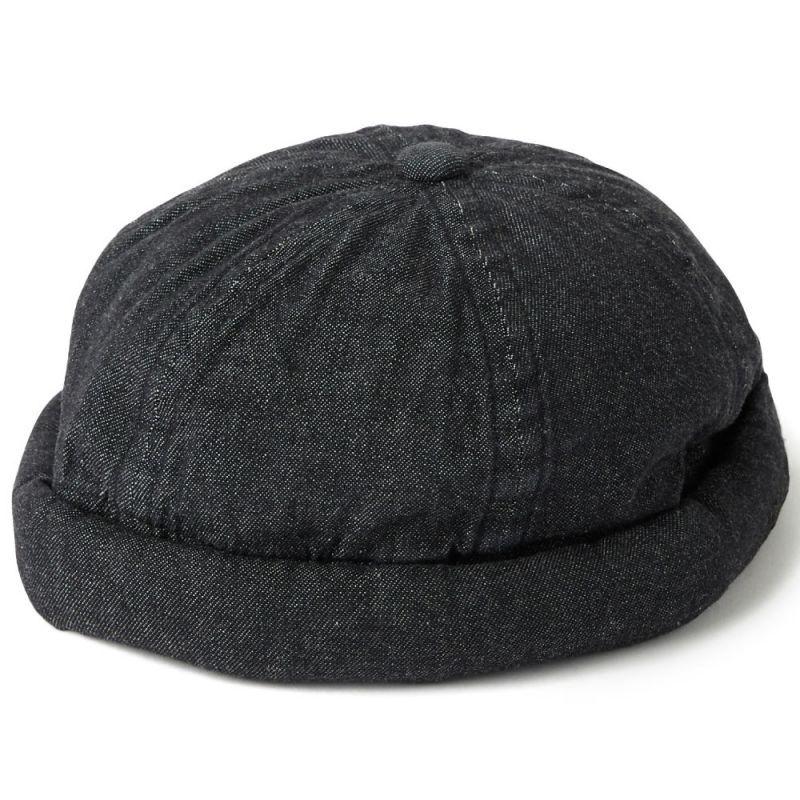 画像1: Leon 6 Panel Fisherman Denim Cap 6パネル キャップ フィッシャーマン 帽子 デニム Black Indigo (1)